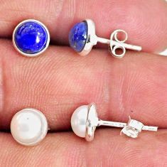 925 silver 4.85cts natural white pearl blue lapis lazuli stud earrings r65520