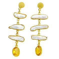Handmade18.76cts natural white pearl citrine 14k gold dangle earrings t16347