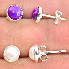 925 silver 4.07cts natural white pearl copper turquoise stud earrings t23875
