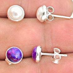 925 silver 4.46cts natural white pearl copper turquoise stud earrings t23918