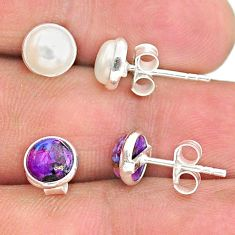 925 silver 4.05cts natural white pearl copper turquoise stud earrings t23948