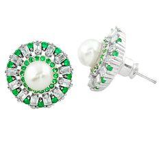 925 silver natural white pearl green emerald quartz stud earrings c19473
