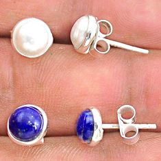 925 silver 4.46cts natural white pearl lapis lazuli stud earrings jewelry t23878