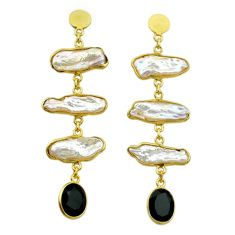 925 silver 18.14cts natural white pearl onyx 14k gold dangle earrings t44078