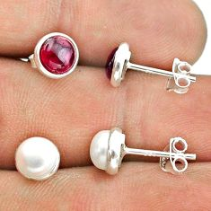 925 silver 5.30cts natural white pearl red garnet 2 pair studs earrings t50833