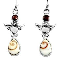 925 silver 6.36cts natural white shiva eye smoky topaz owl earrings r51497