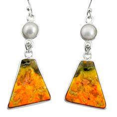 925 silver 17.35cts natural yellow bumble bee australian jasper earrings r26048