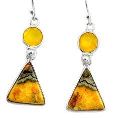 925 silver 12.29cts natural yellow bumble bee australian jasper earrings r26057