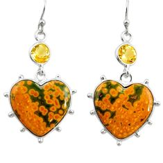925 silver 18.14cts natural yellow ocean sea jasper (madagascar) earrings r28864