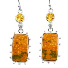 925 silver 18.12cts natural yellow ocean sea jasper (madagascar) earrings r28869
