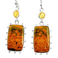 925 silver 21.53cts natural yellow ocean sea jasper (madagascar) earrings r28879