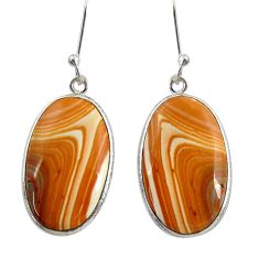 Clearance Sale- 925 silver 14.73cts natural yellow snakeskin jasper dangle earrings d39568