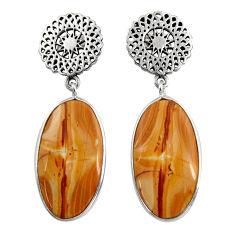 Clearance Sale- 925 silver 16.28cts natural yellow snakeskin jasper dangle earrings d39598