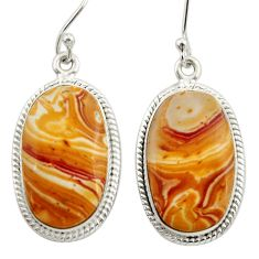 Clearance Sale- 925 silver 20.07cts natural yellow snakeskin jasper dangle earrings d39968
