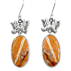 Clearance Sale- 925 silver 20.07cts natural yellow snakeskin jasper two cats earrings d39593