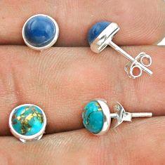 925 silver 4.28cts owyhee opal copper turquoise 2 pair studs earrings t50888