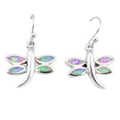 925 silver pink australian opal (lab) enamel dragonfly earrings a73905 c24510