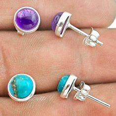 925 silver 4.57cts purple amethyst copper turquoise 2 pair studs earrings t50844