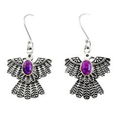 Clearance Sale- 925 silver 2.20cts purple copper turquoise eagle charm earrings d40392