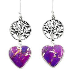 925 silver 17.22cts purple copper turquoise heart tree of life earrings d39609