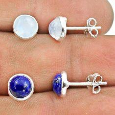 925 silver 4.57cts rainbow moonstone lapis lazuli 2 pair studs earrings t50885