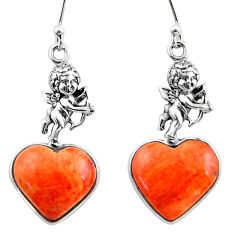 925 silver 10.72cts red copper turquoise heart cupid angel wings earrings r46817