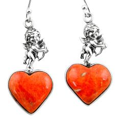 925 silver 11.71cts red copper turquoise heart cupid angel wings earrings r46820