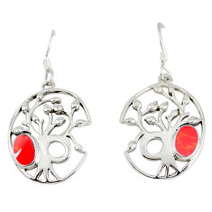 925 sterling silver red sponge coral enamel tree of life earrings jewelry c11679