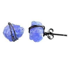 925 silver 10.14cts rhodium natural blue tanzanite raw stud earrings r79645
