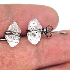 925 silver 6.79cts rhodium natural white herkimer diamond stud earrings t15370