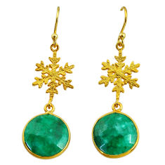 11.17cts snowflake natural green emerald 14k gold earrings t11640