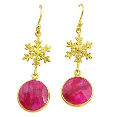 11.73cts snowflake natural red ruby 14k gold handmade dangle earrings t11632