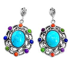 925 silver 7.23cts southwestern blue arizona mohave turquoise earrings c25980