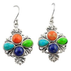 925 silver 10.54cts southwestern multi color copper turquoise earrings c26202