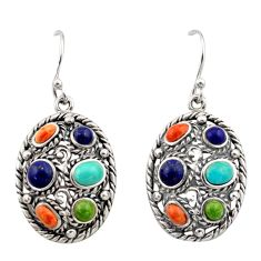 925 silver 8.27cts southwestern multi color copper turquoise earrings c26206