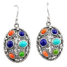 925 silver 8.20cts southwestern multi color copper turquoise earrings c26212