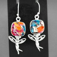 925 silver 11.89cts spiny oyster arizona turquoise angel earrings jewelry r95160