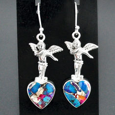 925 silver 11.32cts spiny oyster arizona turquoise angel earrings jewelry r95188