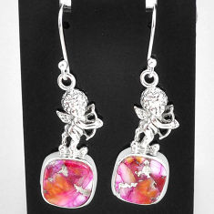 925 silver 11.23cts spiny oyster arizona turquoise angel earrings jewelry t4064