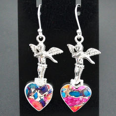 925 silver 11.27cts spiny oyster arizona turquoise angel earrings r95193