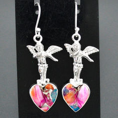 925 silver 10.81cts spiny oyster arizona turquoise angel earrings r95195