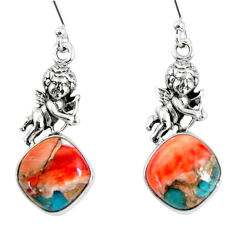 925 silver 10.41cts spiny oyster arizona turquoise dangle angel earrings r50944