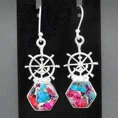 925 silver 9.92cts spiny oyster arizona turquoise dangle earrings jewelry r95179