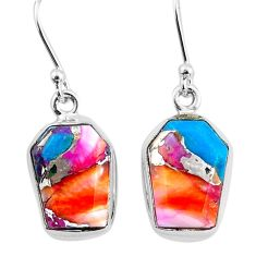 925 silver 10.28cts spiny oyster arizona turquoise dangle earrings t3688