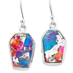 925 silver 11.25cts spiny oyster arizona turquoise dangle earrings t3693