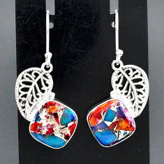 925 silver 10.37cts spiny oyster arizona turquoise deltoid leaf earrings r95157