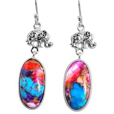 925 silver 15.85cts spiny oyster arizona turquoise elephant earrings r62400