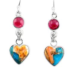 925 silver 9.22cts spiny oyster arizona turquoise garnet dangle earrings r51784