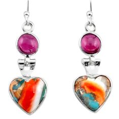 925 silver 8.12cts spiny oyster arizona turquoise garnet dangle earrings r51793