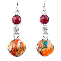 925 silver 10.08cts spiny oyster arizona turquoise garnet dangle earrings r51796